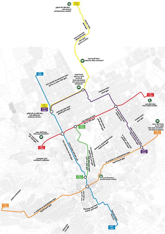 Riyadh Train network map